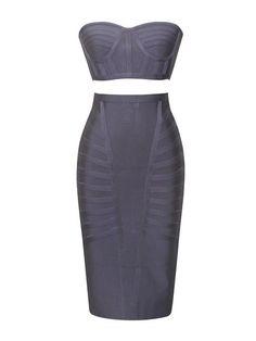 Dalia Grey Strapless Two Piece Bandage Dress with Fabric Pattern