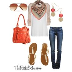 Casual weekend look featuring Linea Pelle Dylan cross body bag in coral :)