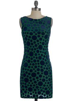I Dot Carried Away Dress - Green, Blue, Polka Dots, Party, Sheath / Shift, Short, Backless, Sleeveless, Fall