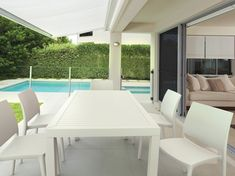 Ares 140 Table is made of durable weather-resistant resin. For indoor and outdoor use. Terrasse Design, Outdoor Furniture Sets, Outdoor Decor, Contemporary Furniture, Sun Lounger, Maya, Dining Table, Indoor, Inspiration