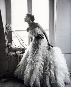 Barbara Mullen in Christian Dior, photo by Lillian Bassman, Paris, Harper's Bazaar, 1949