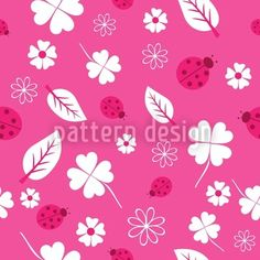 Ladybugs And Clover Seamless Vector Pattern Patterns In Nature, Print Patterns, Nature Pattern, Vector Pattern, Pattern Design, Pink Nature, Cool Wallpaper, Background Patterns, Scrapbook Paper