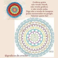 Crochet Doily Diagram, Crochet Mandala Pattern, Crochet Diy, Crochet Flower Patterns, Crochet Chart, Crochet Home, Crochet Doilies, Crochet Flowers, Crochet Stitches
