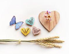 Spille in legno di betulla dipinta a mano