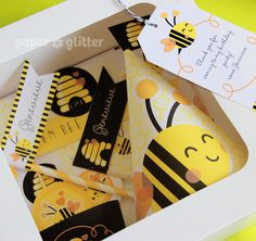 Bee Bumble Bee Printable Party Kit yellow black with invitations and decorations - Editable Text Printable PDF - 0133. $14.95, via Etsy.