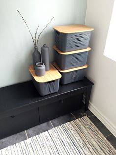 Grey SmartStore Baskets with bamboo lids