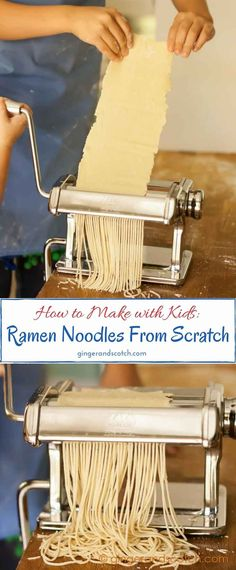 Make homemade ramen noodles from scratch at home with just flour, water, and baking soda. Great activity for the kids!