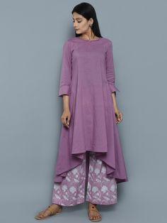 Purple Cotton High Low Kurta with Block Printed Palazzo - Set of 2 (Indo Western Cotton Top) Kurti Neck Designs, Blouse Designs, Indian Designer Outfits, Designer Dresses, Indian Dresses, Indian Outfits, Dress Patterns, Indian Fashion, Textiles