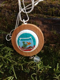 Upcycled wine cork fishbowl painting designed by quarkcorks by quarkcorks on Etsy