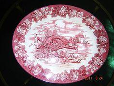 HUGE Antique Woods Burslem Pottery Red Transferware Turkey Platter