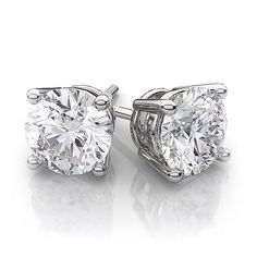 Diamond 10986: 5Ct 14K White Gold Round Lab Created Diamond Earrings Basket Solitaire Studs BUY IT NOW ONLY: $67.99