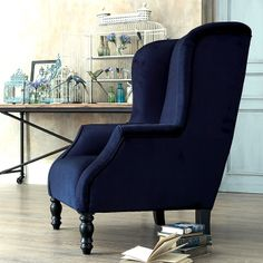 Big Blue wing chair - SOLD