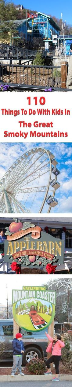 110 Things to do in The Great Smoky Mountains with Kids. Family-friendly activities in Sevierville, Gatlinburg, and Pigeon Forge in Tennessee. Gatlinburg Vacation, Vacation Trips, Vacation Spots, Vacation Ideas, Family Vacations, Gatlinburg Tennessee, Tennessee Vacation Kids, Nashville Vacation, Summer Vacations