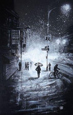 SNOWY NIGHT66 x 43 cmVENDU
