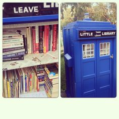Little free library - love the whole little free library thing anyway, but one made into the TARDIS?!?! yes, please! <3