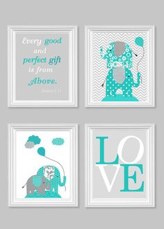 Elephant Nursery Art Gray Turquoise Teal Gender Neutral Baby Decor Bible Verse Love Every Good and Perfect Gift Quote 8 x 10, 11 x 14 Prints