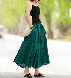 Green skirt, womens dresses, summer midi skirt, Linen skirt women Casual Summer Dresses, Summer Dresses For Women, Summer Outfits, Summer Ootd, Summer Skirts, Linen Skirt, Blouse Dress, Sweater Dresses, Knee Length Dresses