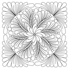 zen feather block 005 - Providing Digital Quilting Patterns for Computer Assisted Long Arm and Short Arm Quilting Machines, - Geometric Coloring Pages, Mandala Coloring, Cat Coloring Page, Coloring Book Pages, Coloring Sheets, Mandala Painted Rocks, Dot Painting, Silk Painting, Scratch Art