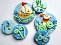 @Marianne Burchard Design Mackie Button Sail the Sea handmade polymer clay buttons  ( 6 ) via Etsy