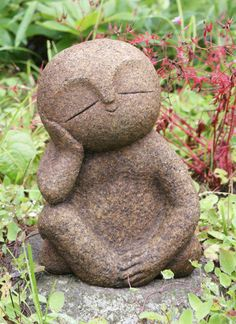 Japan Collection Healing Ksitigarbha / made of Granite / JIZO 地蔵 / H 18 cm