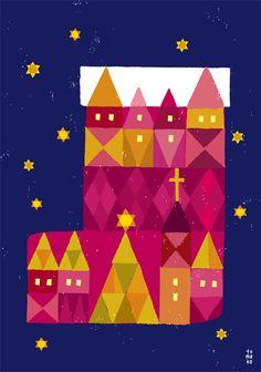 季節 - イラストレーター スズキトモコ|tomo-com.com Christmas Graphics, Christmas Art, Xmas, Night Illustration, Graphic Design Illustration, Glitter Houses, Illustrators On Instagram, Silent Night, Retro Art
