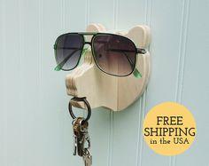 Llave de gancho - colgador de la pared de la cabeza del oso para llaves, gafas y gafas de sol - madera, titular de gafas de sol y gancho clave, regalo de inauguración de la casa
