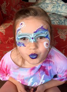 Under the sea dolphin facepaint.