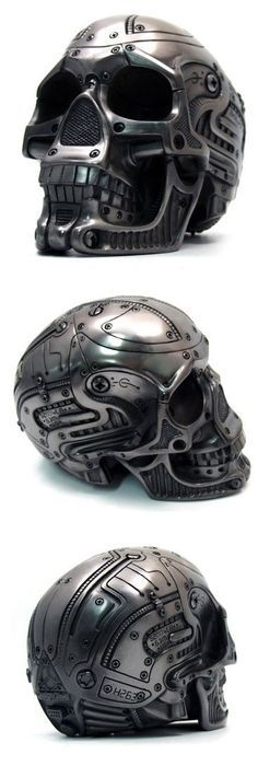 mechanical skull helmet: