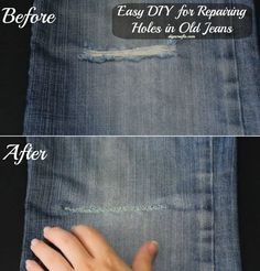 Easy DIY for Repairing Holes in Old Jeans Great idea, however there is a pucker in the jeans. I have few areas in a pair of my jeans and I think I will use your idea, but without the cut-away part. Thanks so much for the FYI!