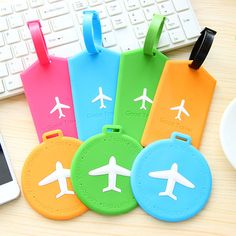 Candy color small plane silicone luggage tag, luggage theft listing-inLocks from Home Improvement on Aliexpress.com
