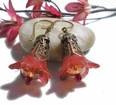 Autumn Russet Flower Earrings w Copper by MagdaleneJewels on Etsy