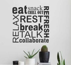 Breakroom Collage, Break room Decal, Vinyl Wall Lettering, Vinyl Wall Decals, Vinyl Letters, Vinyl Lettering, Wall Quotes, Office Decal by WallsThatTalk #Officedesigns