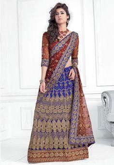 Royal Blue Net Lehenga Choli With Dupatta Online Shopping: LFU9C