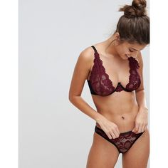 Wolf & Whistle Burgundy High Apex B-G Cup Bra (€33) ❤ liked on Polyvore featuring intimates, bras, red, red lacy lingerie, red lace lingerie, burgundy lingerie, red lacy bra and red lingerie