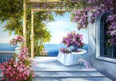 ART ~ Floral arches leading to the sea ~ Zori Albastri ~ - Painting Art Floral, Floral Arch, Painting Videos, Easy Paintings, Beautiful Paintings, Landscape Art, Landscape Paintings, Garden Painting, Christmas Art