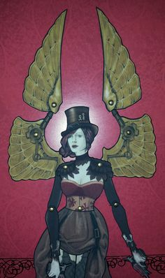 Steampunk Elise Jointed Paper Doll by FiveAndNineteen on Etsy, $10.50