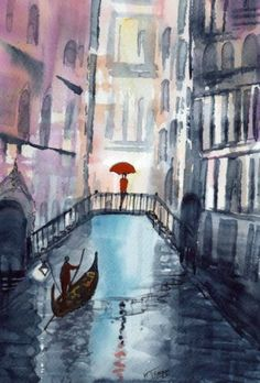 Original Signed Watercolour Painting ~ Rainy Day Venice ~ BY KJ CARR