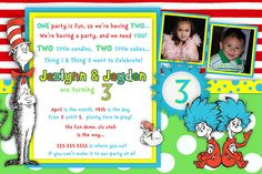 Dr. Seuss Cat in the Hat - thing 1 and Thing 2 Birthday Invitation - Printable Birthday Invitation