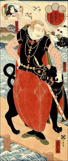 "Namban (lit. ""Southern Barbarian"") and Black Panther by Hiroshi Hirakawa"
