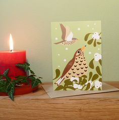 Mistle Thrush and Mistletoe Christmas Card by butterflytrack Christmas Cards, Christmas Decorations, Holiday Decor, Mistle Thrush, Mistletoe, Adobe Illustrator, Candle Holders, Birds, Candles
