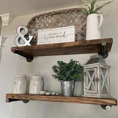 Are you searching for pictures for farmhouse living room? Check this out for very best farmhouse living room pictures. This amazing farmhouse living room ideas will look totally wonderful. Kitchen Shelf Decor, Farmhouse Kitchen Decor, Living Room Shelf Decor, Wall Shelf Decor, Farmhouse Ideas, Kitchen Ideas, Top Of Cabinet Decor, Shelving Decor, Modern Farmhouse Living Room Decor