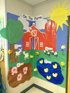 Farm theme Can be used for a unit about farm animals and starting off with the barn and adding animals and other parts that are on the farm, throughout the week Developmentally appropriate for pre-k to grade Farm Animals Preschool, Farm Animal Crafts, Preschool Themes, Preschool Crafts, Farm Theme Crafts, The Farm, Farm Activities, Kindergarten Activities, Farm Lessons