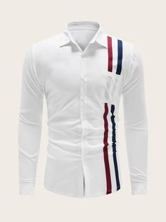 Men Striped Button Through Shirt African Shirts For Men, White Shirt Men, Striped Polo Shirt, White Casual, Pop Fashion, Mens Fashion, Stripe Print, Shirt Sleeves, Types Of Shirts