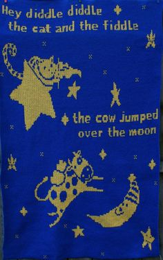 The Cow Jumped Over The Moon Baby AfghanBlanket by CCKITTENKNITS, $30.00