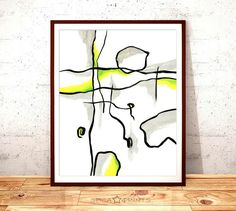 Abstract Art Print Yellow Green and Black Wall Art