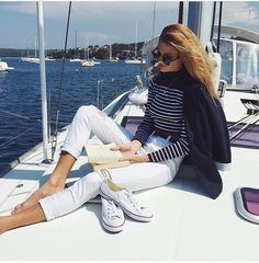 white pants, converse, striped shirt, boating