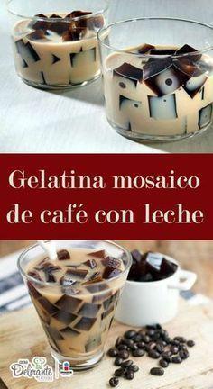 Esta gelatina de café mosaico tiene un increíble sabor y la textura es cremosa y suave, ¡te encantará! Gelatin Recipes, Jello Recipes, Mexican Food Recipes, Sweet Recipes, Dessert Recipes, Jello Desserts, Delicious Desserts, Yummy Food, Jello Cake