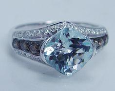 LeVian 14K White Gold Aquamarine Diamond Ring Designer Signed Jewelry Le Vian