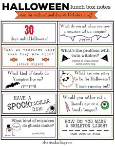 Halloween QUOTATION - Image : Quotes about Halloween - Description Halloween Lunch Box Notes Printables Days Until Halloween, Halloween Jokes, Halloween Activities, Halloween Cards, Holidays Halloween, Halloween Prop, Halloween Witches, Women Halloween, Happy Halloween