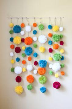 These make me happy! Yarn Pom Pom Backdrops!